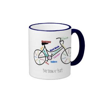 Bici de motivación bicicleta completando un cicl taza