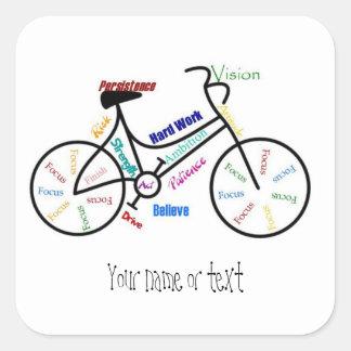 Bici de motivación, bicicleta, completando un pegatina cuadrada