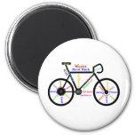 Bici de motivación, ciclo, Biking, palabras del Imán Redondo 5 Cm
