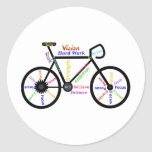 Bici de motivación, ciclo, Biking, palabras del Pegatina Redonda