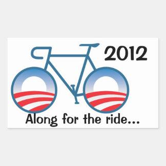Bici de Obama 2012 - adelante para el paseo… Pegatina Rectangular