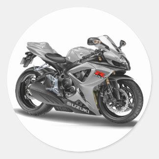 Bici de plata de Suzuki GSX-R600 Etiquetas Redondas