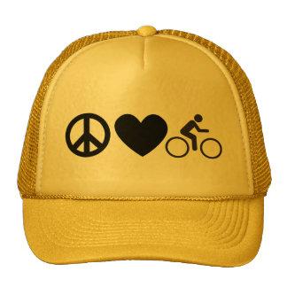 bici del amor de la paz gorro de camionero