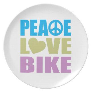 Bici del amor de la paz platos para fiestas