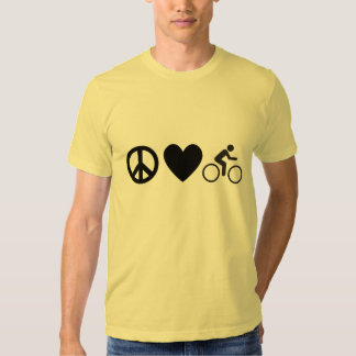 bici del amor de la paz poleras