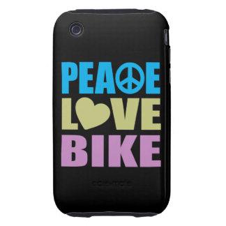 Bici del amor de la paz tough iPhone 3 cárcasa