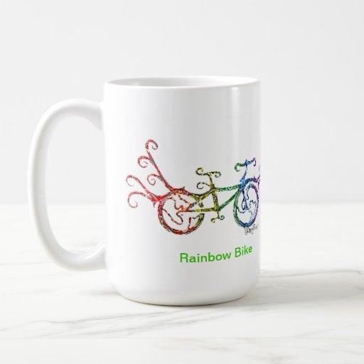 Bici del arco iris taza de café