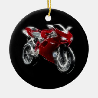 Bici del deporte que compite con la motocicleta adorno navideño redondo de cerámica