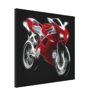 Bici del deporte que compite con la motocicleta impresión en lona
