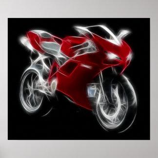 Bici del deporte que compite con la motocicleta póster