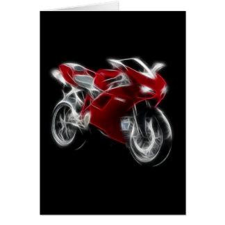 Bici del deporte que compite con la motocicleta tarjeta de felicitación
