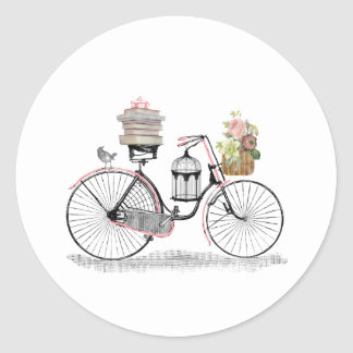 Bici del empuje de la fantasía pegatina redonda