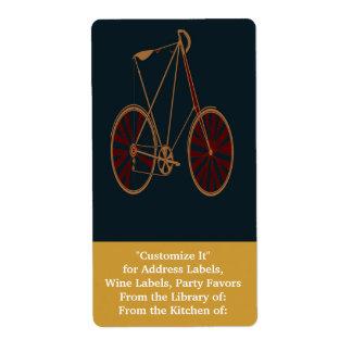 Bici del rojo azul de la escuela vieja de la bicic etiqueta de envío
