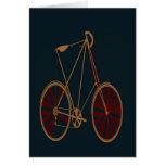 Bici del rojo azul de la escuela vieja de la bicic tarjeton