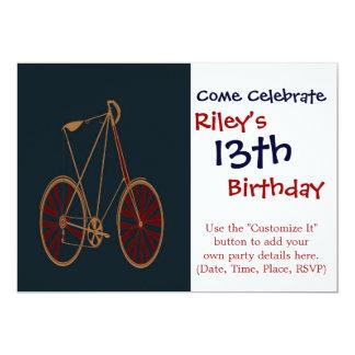 """Bici del rojo azul de la escuela vieja de la invitación 5"""" x 7"""""""