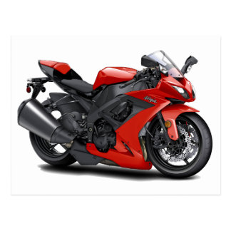 Bici del rojo de Ninja Postal