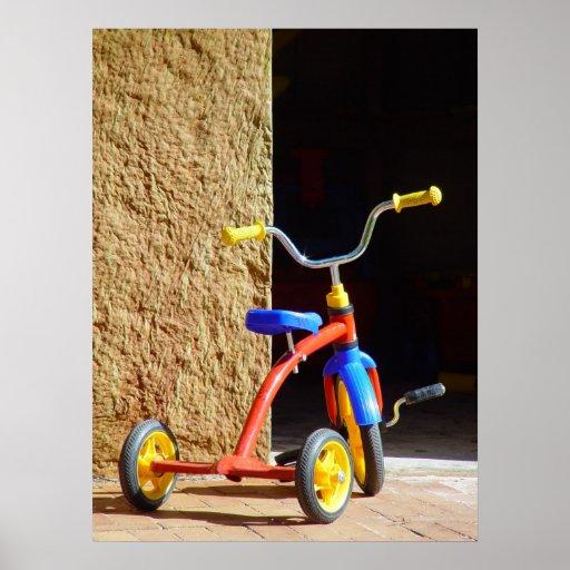 Bici del triciclo de niño del poster del vintage