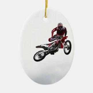 Bici del truco adorno navideño ovalado de cerámica