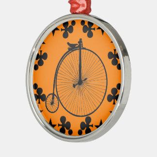 Bici del vintage adorno navideño redondo de metal