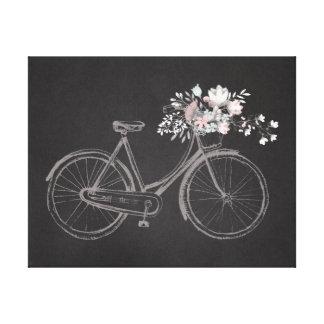 Bici del vintage con las flores rosadas y blancas impresion de lienzo