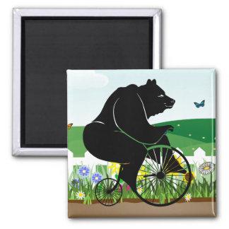 Bici del vintage del montar a caballo del oso imán cuadrado