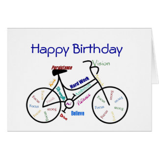 Bici divertida del cumpleaños de la edad, tarjeta de felicitación