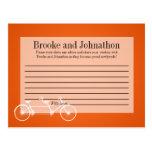 Bici doble anaranjada caprichosa de la tarjeta pro postal
