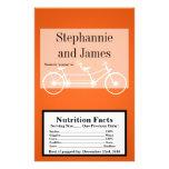 Bici doble anaranjada de la envoltura de las palom tarjetas publicitarias
