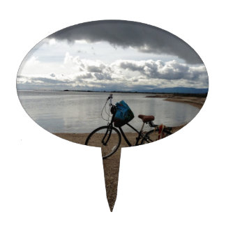 Bici en la playa figuras de tarta