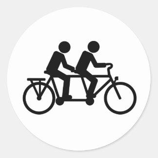 Bici en tándem de la bicicleta pegatina redonda