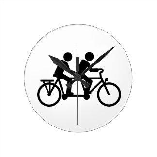 Bici en tándem de la bicicleta reloj de pared