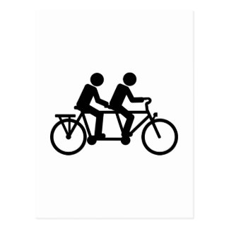 Bici en tándem de la bicicleta postales