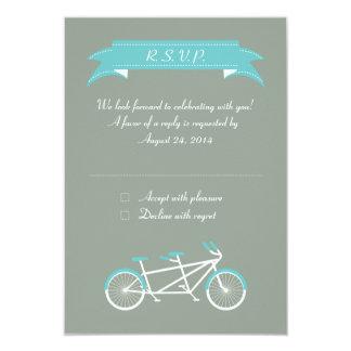 "Bici en tándem (gris/azul) RSVP Invitación 3.5"" X 5"""