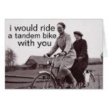 bici en tándem tarjeta pequeña
