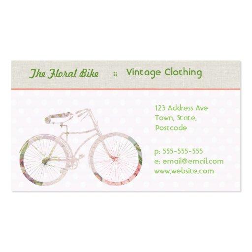 Bici floral femenina tarjetas de visita