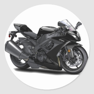 Bici negra de Ninja Pegatinas Redondas