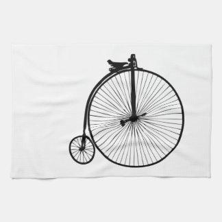 Bici negra del vintage del comino del penique toallas de cocina
