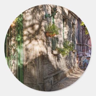 Bici - NY - Greenwich Village - el distrito verde Pegatina Redonda