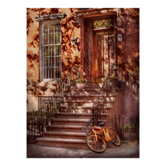 Bici - NY - Greenwich Village - una bici anaranjad Posters
