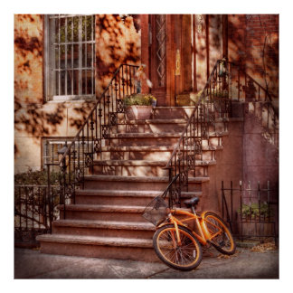 Bici - NY - Greenwich Village - una bici anaranjad Poster