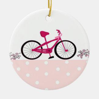 Bici para una curación - bicicleta rosada adorno navideño redondo de cerámica