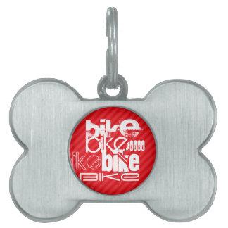 Bici; Rayas del rojo del escarlata Placa De Nombre De Mascota