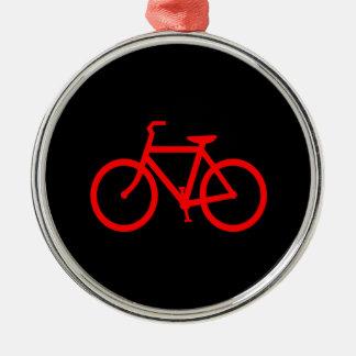 Bici roja adorno navideño redondo de metal