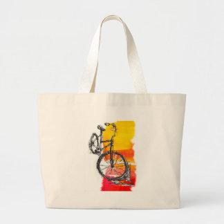 Bici roja colorida bolsas lienzo