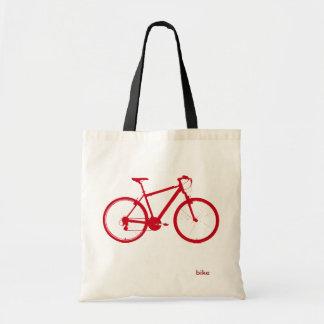 bici roja, completando un ciclo bolsa tela barata