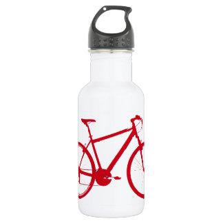 bici roja, completando un ciclo botella de agua de acero inoxidable