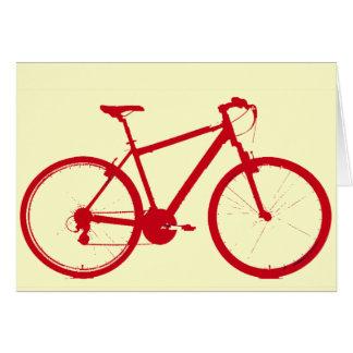 bici roja, completando un ciclo felicitación