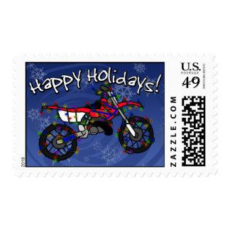 Bici roja de la suciedad del navidad timbre postal