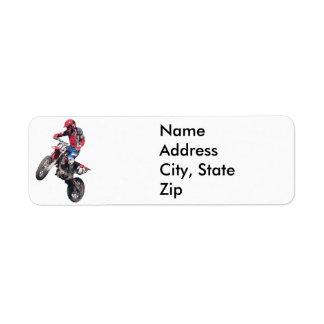 Bici roja de la suciedad etiqueta de remite
