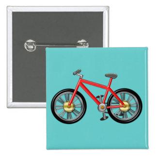 Bici roja de los niños pin cuadrada 5 cm